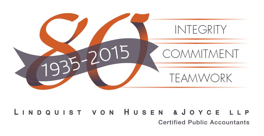 Lindquist, von Husen & Joyce LLP anniversary logo.
