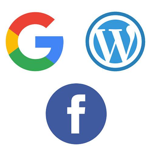 The Google, Facebook and Wordpress logos