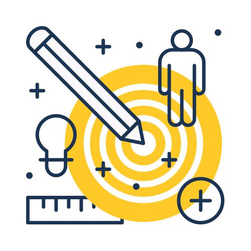 Flat line art of target client.