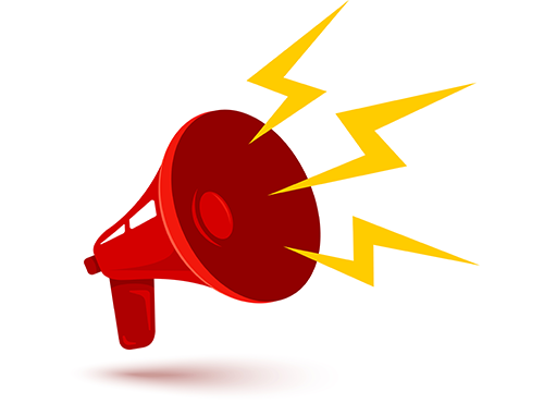 Colorful red megaphone illustration with gold jagged sound waves coming from it.