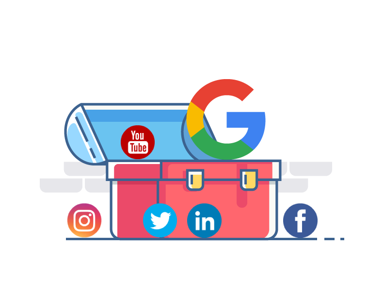 Toolbox with different social media logos in and around it.