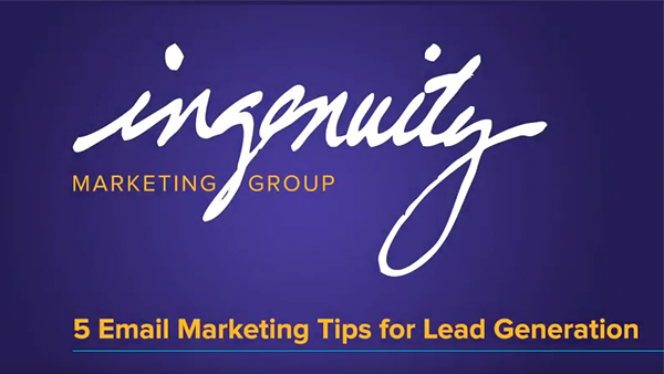 Video title slide for 5 email marketing tips for lead generation