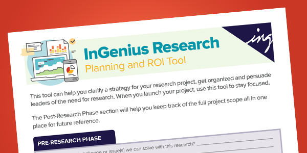 Front of InGenius Research Planning and ROI Tool