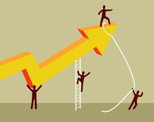 Stick figure people steering an arrow graphic upward