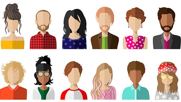 People avatars flat vector