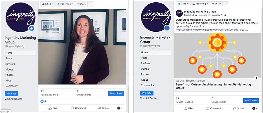 Examples of Ingenuity Marketing Group Facebook posts.