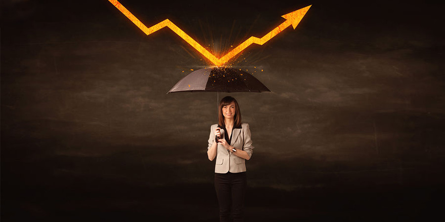 Woman holding an umbrella with a bolt of lightening bouncing off the umbrella.