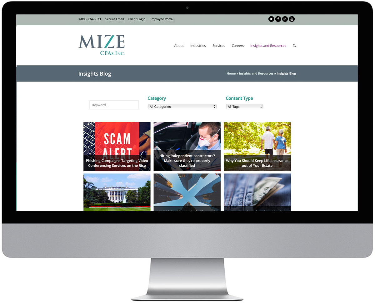 The Mize CPAs blog page on a iMac monitor.