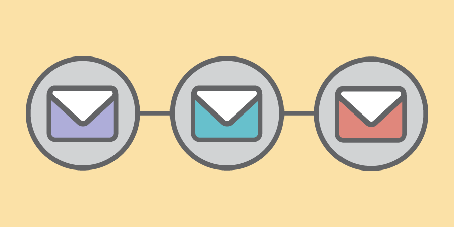 A graphic showing a sequence of emails.