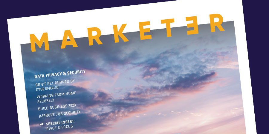 The top header of The Marketer magazine.