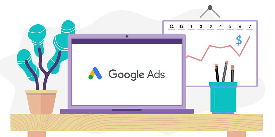 Illustration of computer monitor with Google Ads logo on the screen