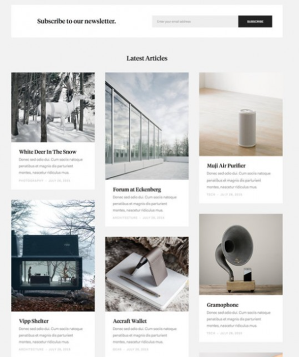 Example of card style web design layout.